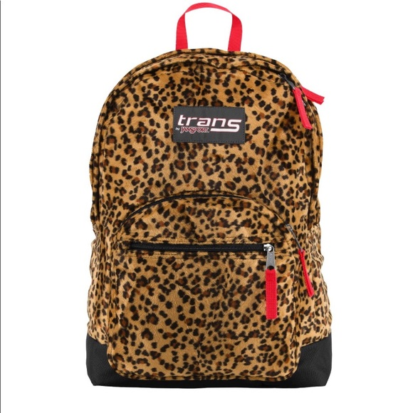 d90e57d7a918 Trans by Jansport plush animal print backpack